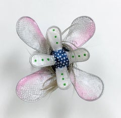 Vanishing Girl Lily, Pink Gray Blue Handmade Paper Floral Wall Hanging Sculpture
