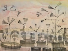 Outskirts Seven B, Gray Sailing Ships in Pastel Sunset in Ocean