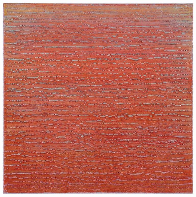 Silk Road 358 Red Light Blue Pale Purple Encaustic Square Painting Color Grid