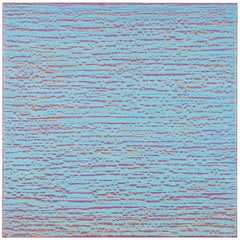 Silk Road 416, Light Blue with Purple Encaustic Square Painting Colorfield Grid