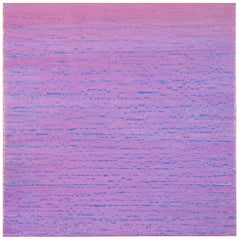 Silk Road 410, Light Purple with Blue Encaustic Square Painting Colorfield Grid