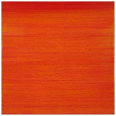Silk Road 411, Vibrant Orange and Red Encaustic Color Field Square Painting