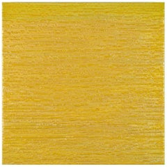 Silk Road 413, Encaustic Color Field Square Painting in Shades of Yellow