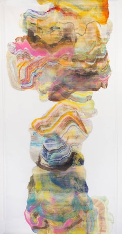 Ash Plume 2, Long Abstract Colorful Pink Yellow Multicolored Painting