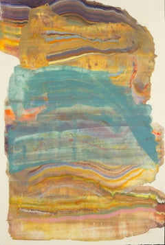 Tower 4, Medium Abstract Colorful Teal Yellow Multicolored Encaustic Monoprint