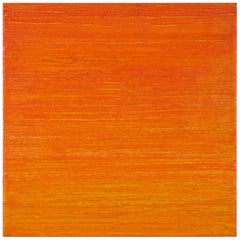 Silk Road 412, Vibrant Bright Orange Color Square Beeswax Painting Encaustic