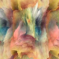 Layers, Abstract Glossy Print on Aluminum in Pink, Teal, Yellow, Green, White