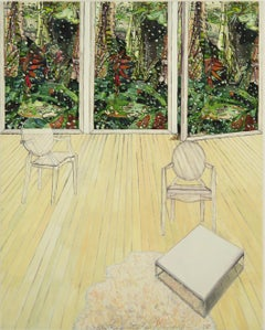 Within Reach, Small Painting, Interior, Rain on Trees Green Plants in Window