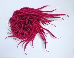 Specimen 8, Framed Burgundy Red Nature Inspired Hand-dyed Thread Fiber Sculpture