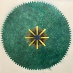 Pop Flower 51A-B, Green Circular Shape with Greenish Brown, Yellow, Blue