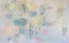 January, Large Abstract Horizontal Light Blue, Teal, Pale Yellow, Green, Pink