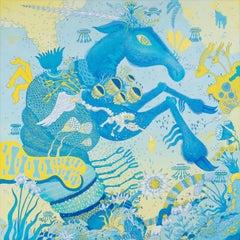 Blue Horsebotic, Blue Green Futuristic Fantasy Landscape with Horse Animal Robot