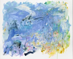 As Though Time Were Very Large, Large Abstract Pale Purple, Light Blue Painting