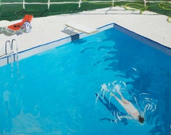 Skinnydipper, Landscape Painting, Swimmer in Pool Bright Blue Water, Red, Green
