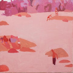 Rose James, Swimmers in River, Summer Landscape in Pinks, Red and Peach