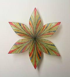 Shooting Star, Pinned Paper Flower in Light Green, Blue-Grey, Light Orange, Red
