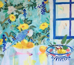 Quince Bowl, Still Life Interior with Blue Bird, Fruit on Table, Yellow Flowers