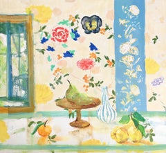 Three Quince, Still Life Interior with Green, Yellow, Orange Fruit, Flowers