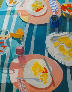 Seven Men in Oaxaca, Still Life with Fruit and Food on Blue Striped Tablecloth