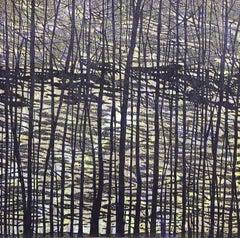 Woodland Landscape VII Variation 13, Nature Woodcut in Dark Navy, Light Purple