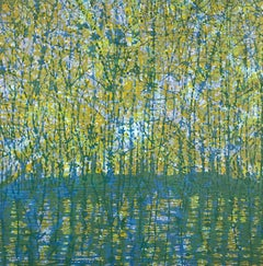 Stream Variation 6, Woodcut of Forest and Stream in Teal Blue, Green, Yellow
