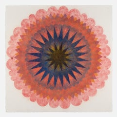 Pop Flower 70, Coral Pink Mandala with Dark Indigo Blue, Orange and Black