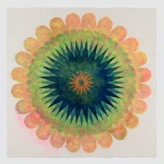 Pop Flower 72, Bright Green, Light Peach Pink Mandala with Navy Blue and Yellow