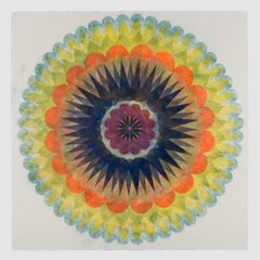 Pop Flower 69, Bright Green, Teal Blue Mandala with Orange, Maroon and Navy
