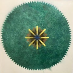 Pop Flower 51A-B, Mandala in Green, Brown, Yellow, Blue Powdered Pigment