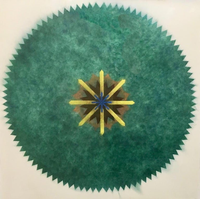 Mary Judge Abstract Drawing - Pop Flower 51A-B, Mandala in Green, Brown, Yellow, Blue Powdered Pigment