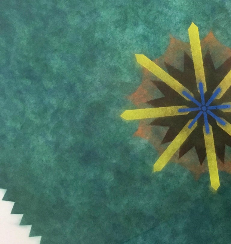 Pop Flower 51A-B, Mandala in Green, Brown, Yellow, Blue Powdered Pigment - Art by Mary Judge
