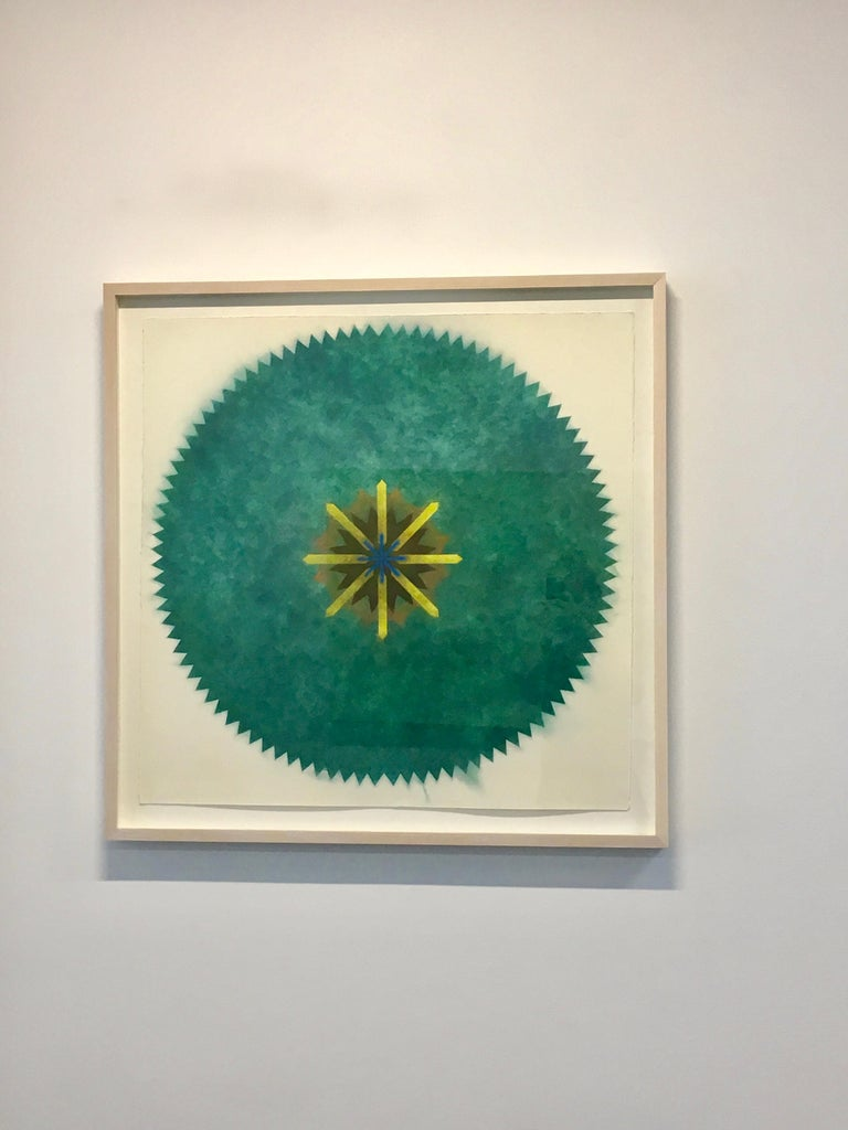 Pop Flower 51A-B, Mandala in Green, Brown, Yellow, Blue Powdered Pigment - Contemporary Art by Mary Judge