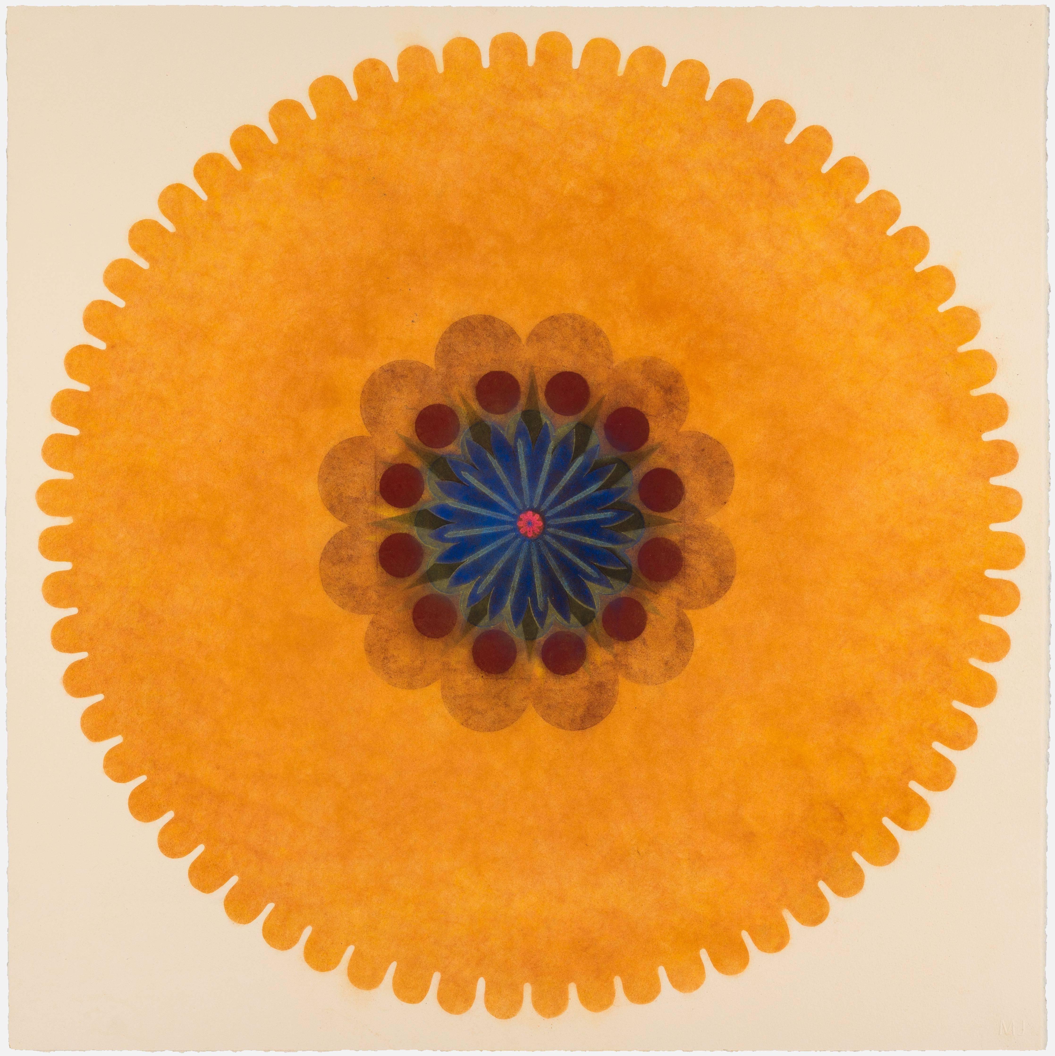 Pop Flower 43, Bright Orange Mandala, Green, Maroon, Blue Center