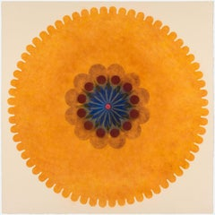 Pop Flower 43, Bright Orange Mandala, Green, Maroon, Blue Center