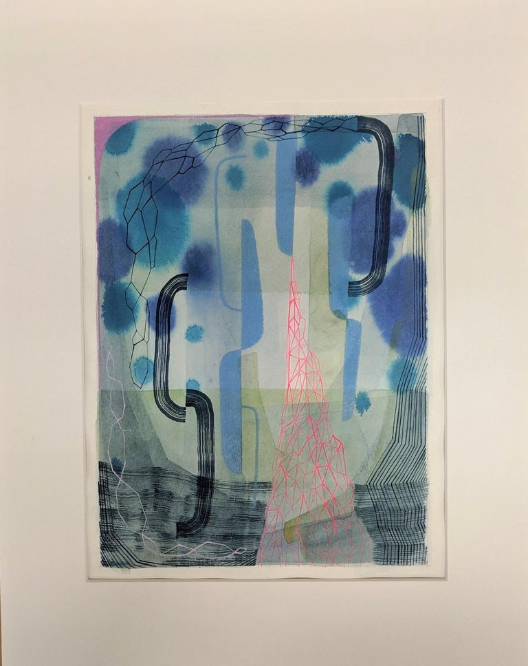 Untitled 459, Abstract Natural Landscape in Blue, Pink, Periwinkle, Purple, Gray For Sale 1