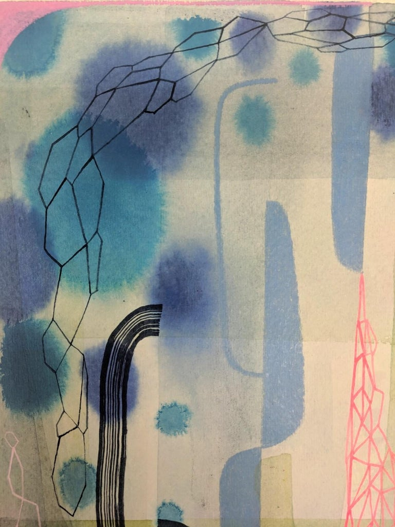 Untitled 459, Abstract Natural Landscape in Blue, Pink, Periwinkle, Purple, Gray For Sale 3