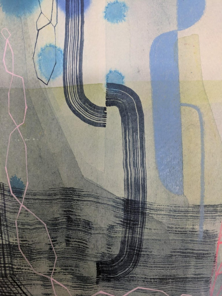 Untitled 459, Abstract Natural Landscape in Blue, Pink, Periwinkle, Purple, Gray For Sale 4