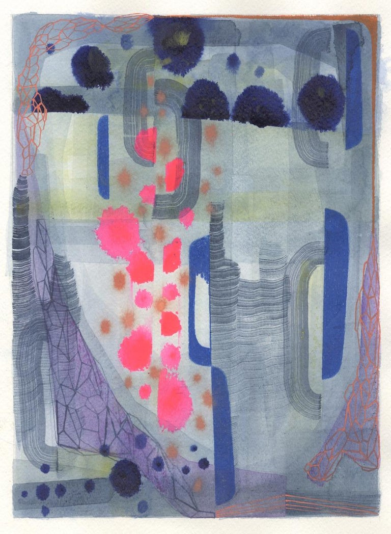 Gabe Brown Abstract Painting - Untitled 449, Abstract Landscape in Bright Pink, Navy Blue, Purple and Green