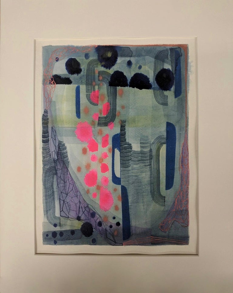 Untitled 449, Abstract Landscape in Bright Pink, Navy Blue, Purple and Green - Painting by Gabe Brown