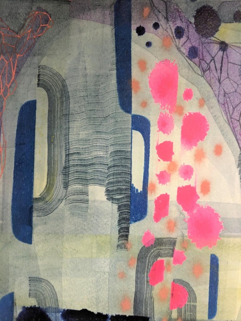 Untitled 449, Abstract Landscape in Bright Pink, Navy Blue, Purple and Green - Contemporary Painting by Gabe Brown