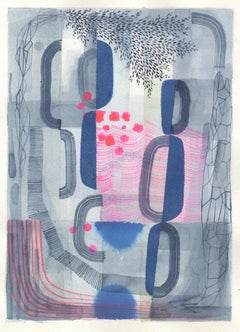 Untitled 445, Abstract Landscape in Dark Blue, Gray and Bright Pink Patterns