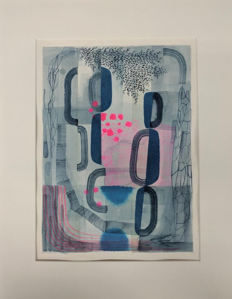 Untitled 445, Abstract Landscape in Dark Blue, Gray and Bright Pink Patterns - Painting by Gabe Brown