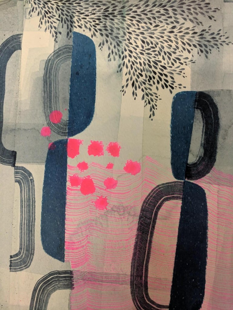 Untitled 445, Abstract Landscape in Dark Blue, Gray and Bright Pink Patterns - Contemporary Painting by Gabe Brown