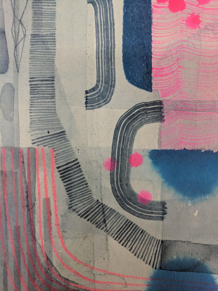 This colorful work on paper by Gabe Brown is composed of intricate patterns, geometric shapes and careful, delicate lines in bright neon pink and dark navy blue with bluish gray. Available unframed and matted, 15 x 11 inches (unframed), 18 x 14
