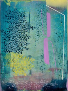 Ash Grove, Vertical Abstract Landscape in Teal Blue, Navy, Purple and Yellow
