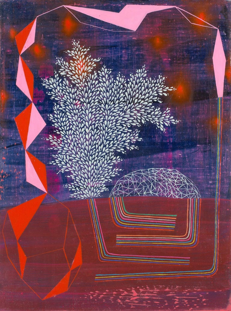 Gabe Brown Abstract Painting - Galaxy Bounce, Abstract Landscape in Dark Purple, Violet, Red, Light Pink, White