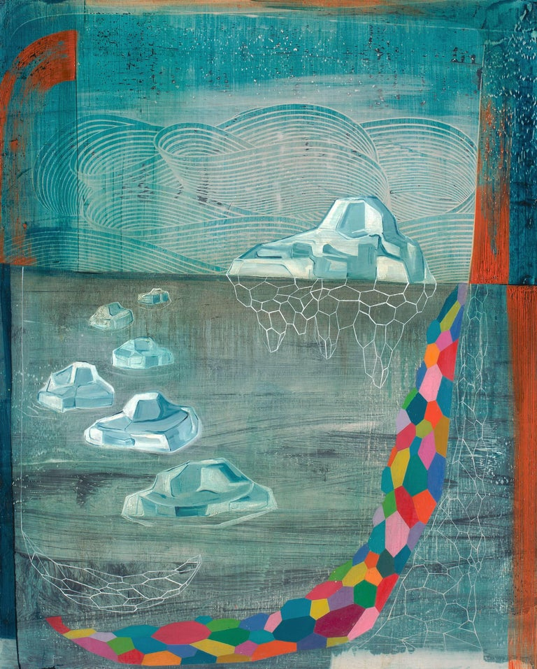 Gabe Brown Abstract Painting - Flux, Medium Vertical Teal Multi-colored Abstract Natural Landscape Icebergs