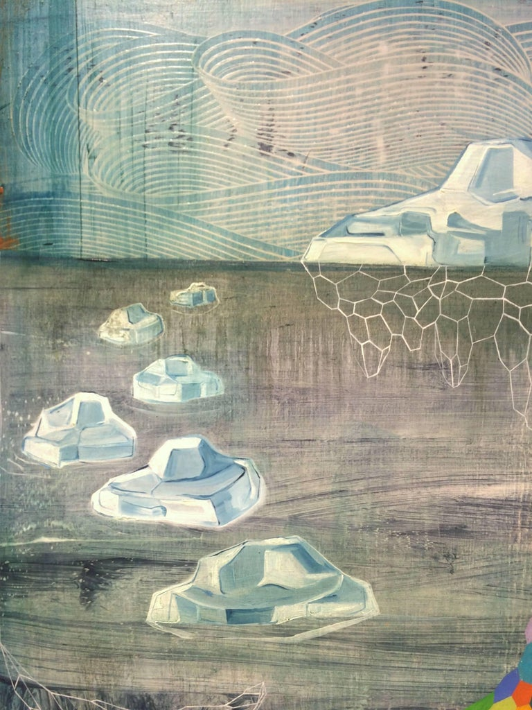 Flux, Medium Vertical Teal Multi-colored Abstract Natural Landscape Icebergs - Painting by Gabe Brown