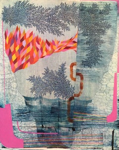 Six Hits of Sunshine, Medium Vertical Navy and Pink Abstract Natural Landscape