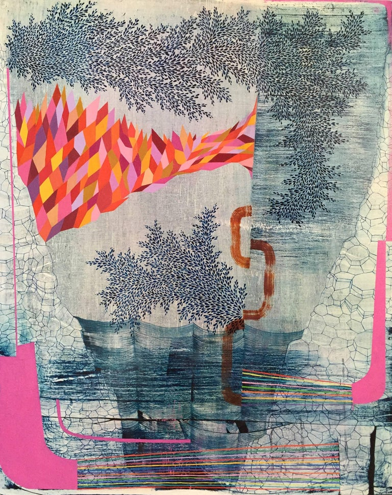 Gabe Brown Abstract Painting - Six Hits of Sunshine, Medium Vertical Navy and Pink Abstract Natural Landscape